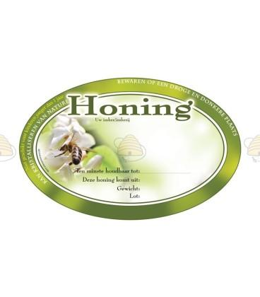 Ovaal groen honingetiket