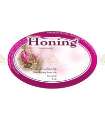 Ovaal roze honingetiket