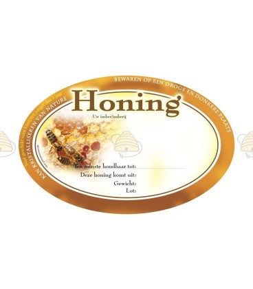 Ovaal bruin honingetiket