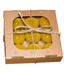 Set van 9 waxinelicht kaarsjes van bijenwas
