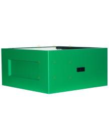 Broedkamer spaarkast groen gelakt polystyreen met vliegopeningen