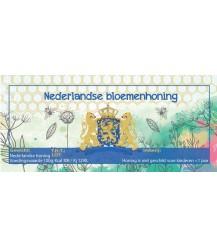 Aquarel Nederlandse bloemenhoning etiket (rechthoekig)