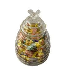 Glazen honingpotje groot en 100 gram zuurtjes