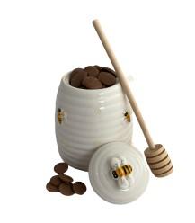 Honingpotje keramiek en honing melkchocolade mini's