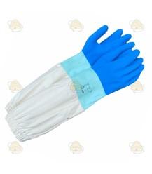 Imkerhandschoenen, rubber & katoen blauw (BeeFun)