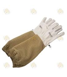 Imkerhandschoenen AirFree, leer & ventilatie kaki (BeeFun)