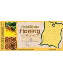 Honingetiket voor 450 gr met raat en bijtje