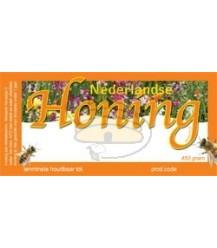 Honingetiket oranje voor 450 gr bloemen met of zonder soortnaam