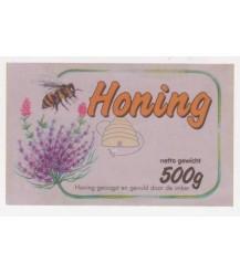Honingetiket met lavendelbloemen